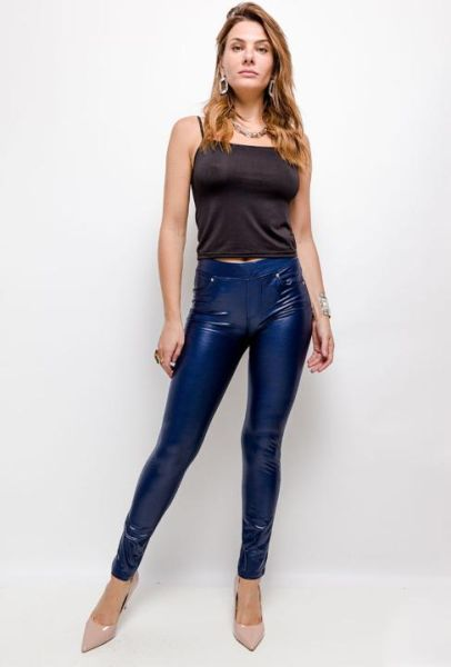 Leggings in Lederoptik (Blau)